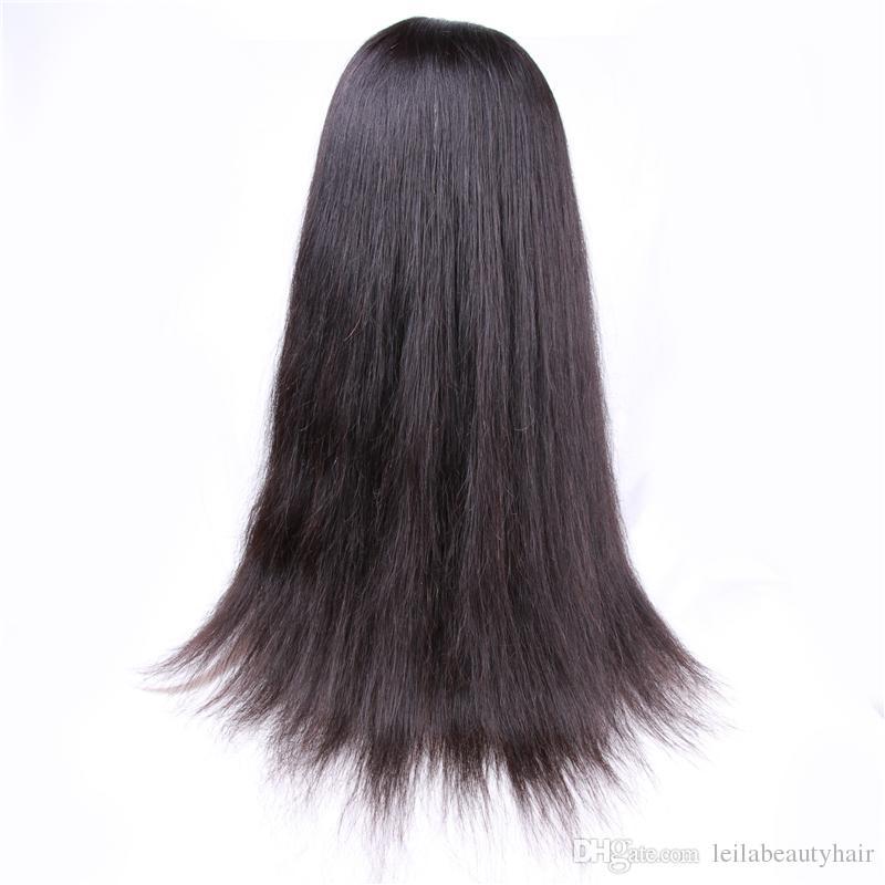 브라질 스트레이트 헤어 자연 색상 레이스 앞 가발 전체 레이스 가발 실크 스트레이트 저렴한 처녀 머리 무료 부분