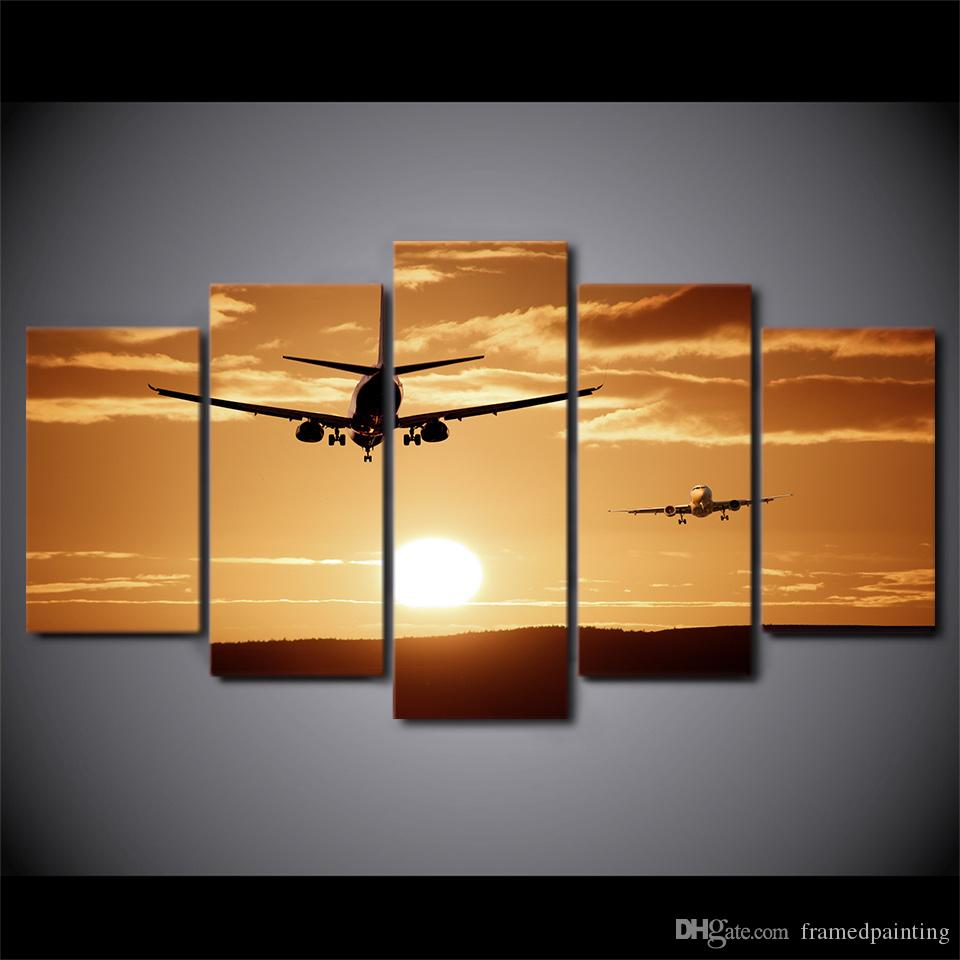 HD Printed Canvas Art Airplane Sunset Canvas Painting Wall Pictures for Living Room Home Decor CA01