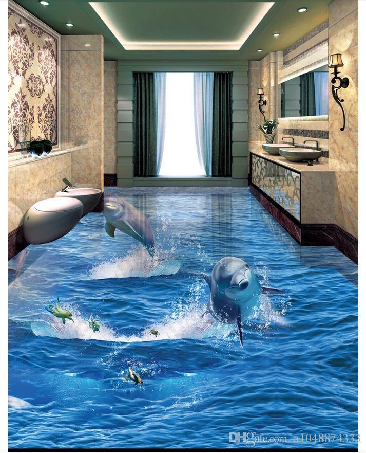 Wholesale-Custom Photo Floor Wallpaper Delphine aus dem Ozean 3D Badezimmer Wohnzimmer Bodenfliesen selbstklebende Boden Dekor Malerei