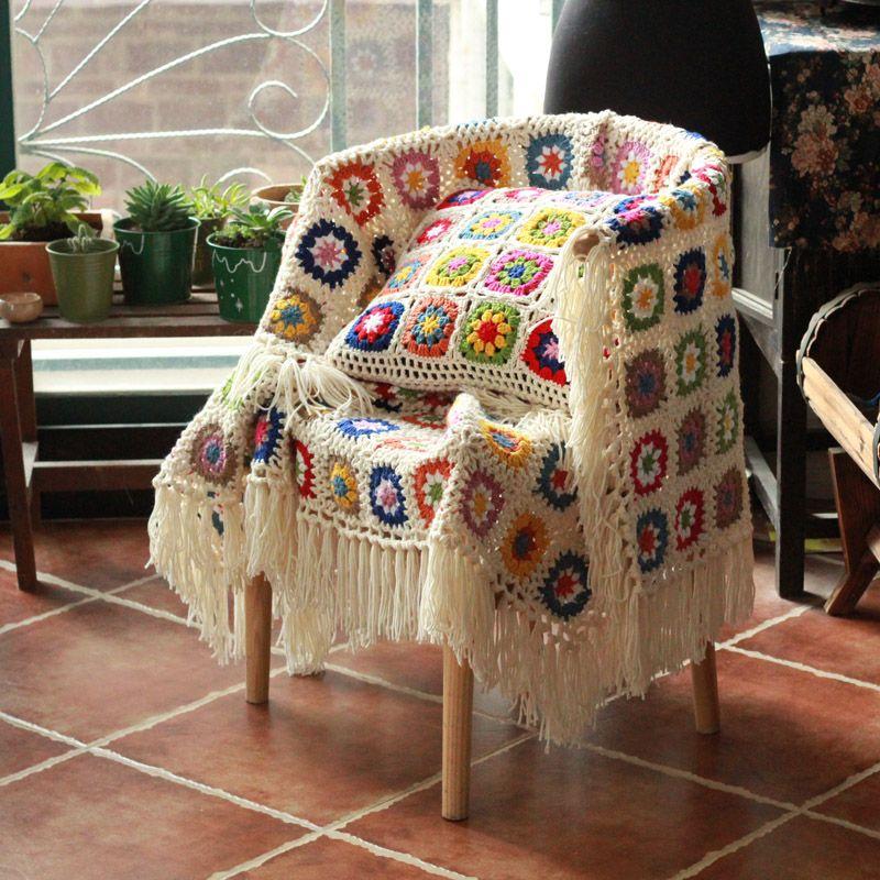 Großhandel Diy Craft Fringe Decke Oma Quadrat Häkeln Sofa Throw ...