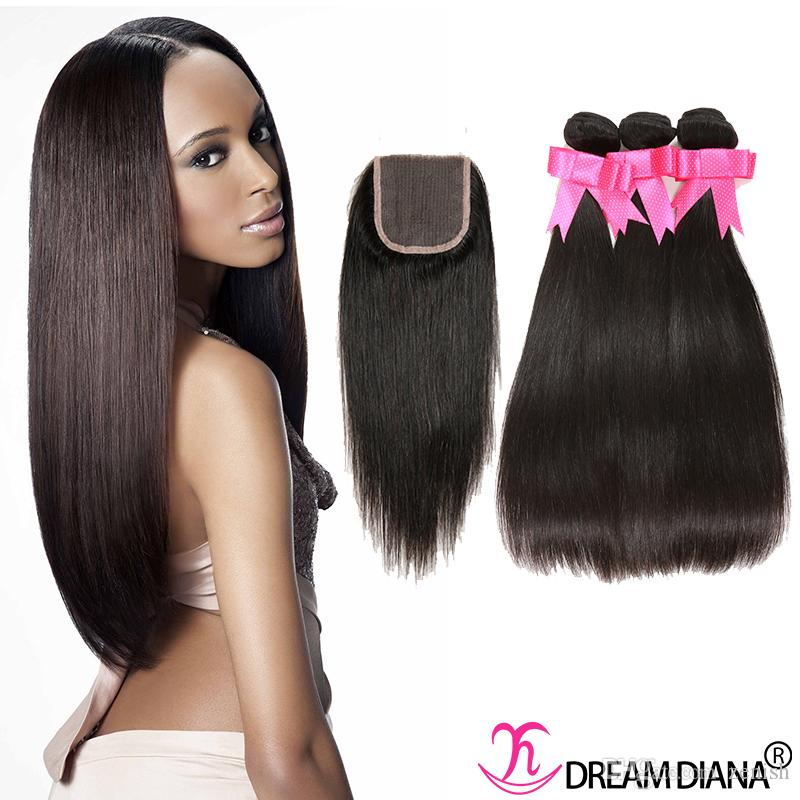 Indian Virgin Hair Extensions Straight Human Hair Wefts With Closure