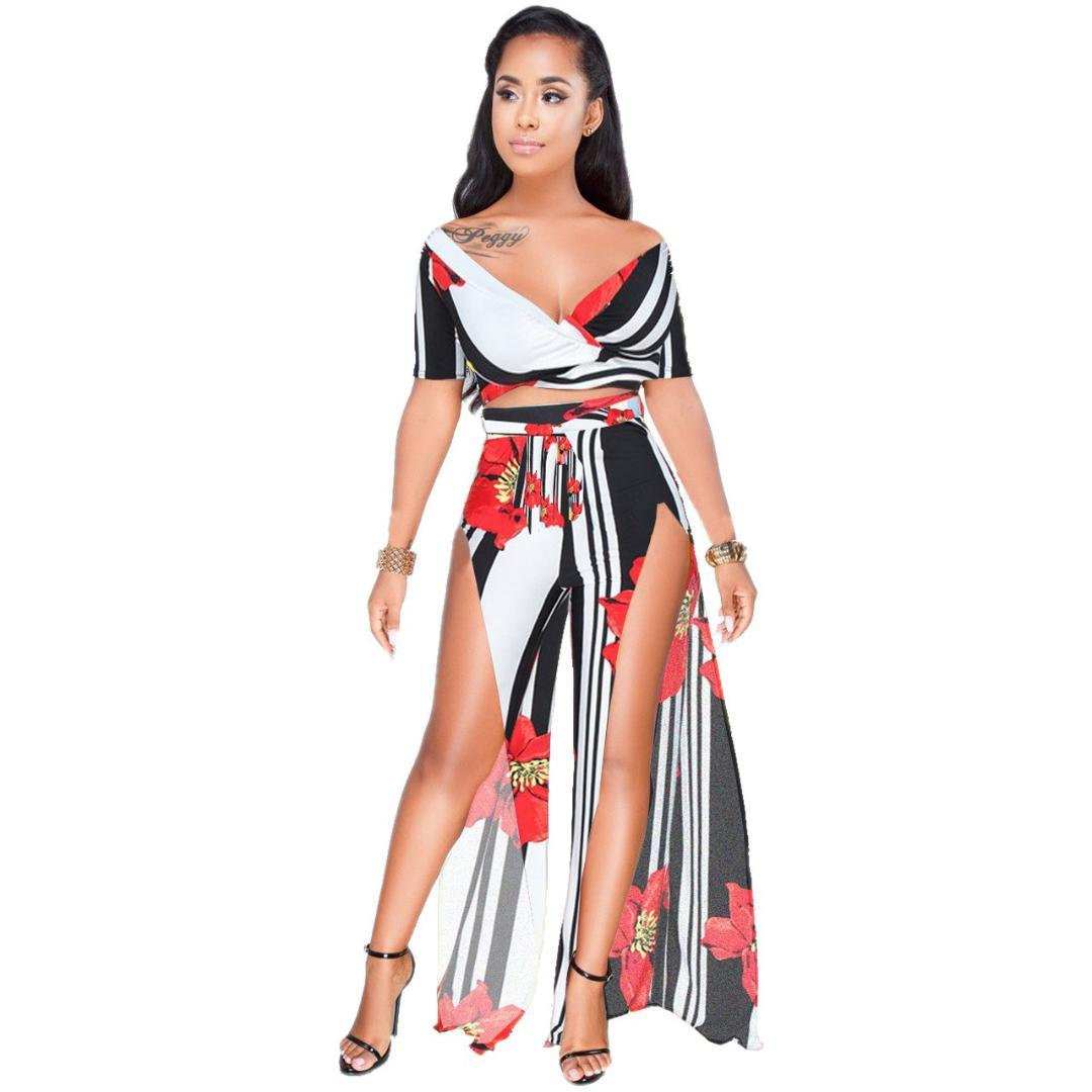 0e0867a62f 2019 Women Summer Beach Boho Set Off Shoulder Crop Top Split Long Skirt  Sets Two Piece Skirt Set From Qingxin13, $32.35 | DHgate.Com
