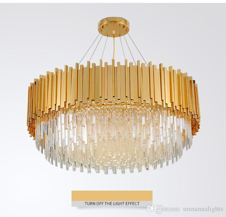 American Modern Crystal Chandelier LED Lamps Gold Crystal Chandeliers Lighting Fixture Shining Home Indoor Lighting Hotel Lobby Hanging Lamp