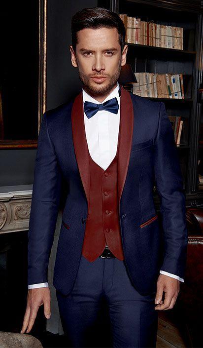 2018 Beau Bleu Marine Un Bouton Châle Lape Mariage Marié Smokings Hommes Costumes Mariage / Bal / Dîner Meilleur Homme Blazer Veste + Cravate + Gilet + Pantalon 03