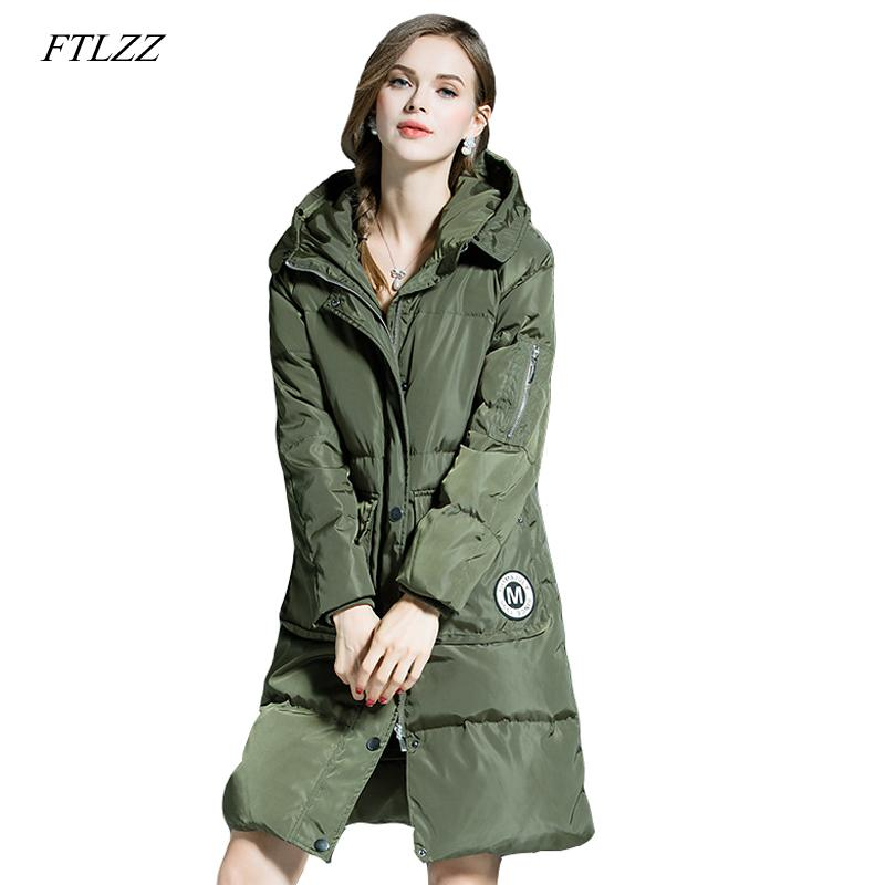 FTLZZ New Winter Parkas Women Loose Fit 90% Duck Down Coat Medium-long Thickness Hooded Jacket Warm Snow Pink Overcoat