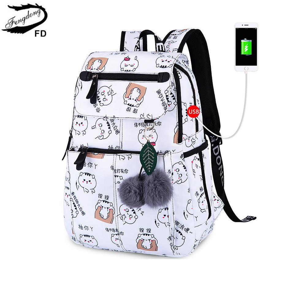 FengDong brand backpack for girls school bags female cute cat back bag backpacks for teenage girls new year girl christmas gift Y18110107