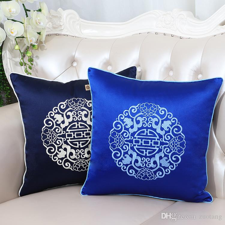 Luxury Vintage Fine Embroidered Pillow Cover Sofa Chair Cushion Cover Decorative Chinese style High End Silk Satin Pillow Case