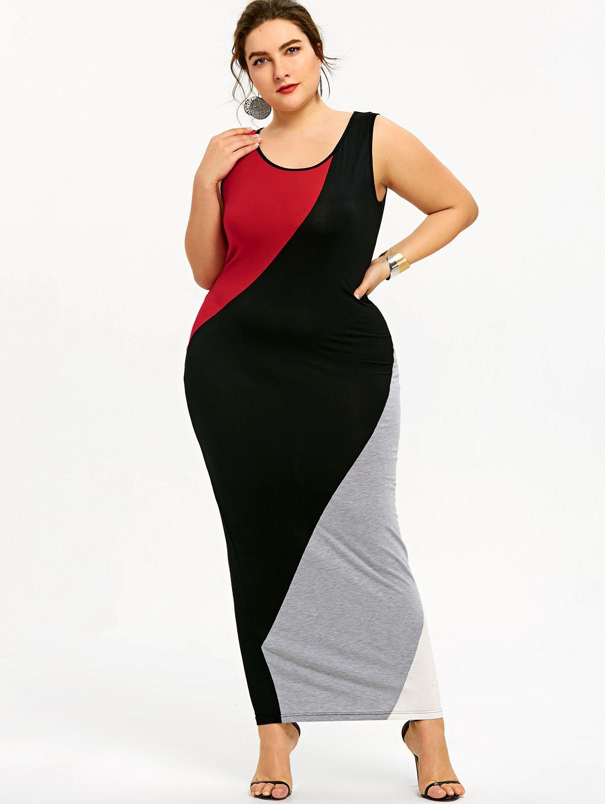 d844332c7e9 2019 Gamiss Plus Size 5XL U Neck Maxi Tank Dress Color Block Sleeveless  Women Casual Black Red White Floor Length Dress Vestidos From Cfashions