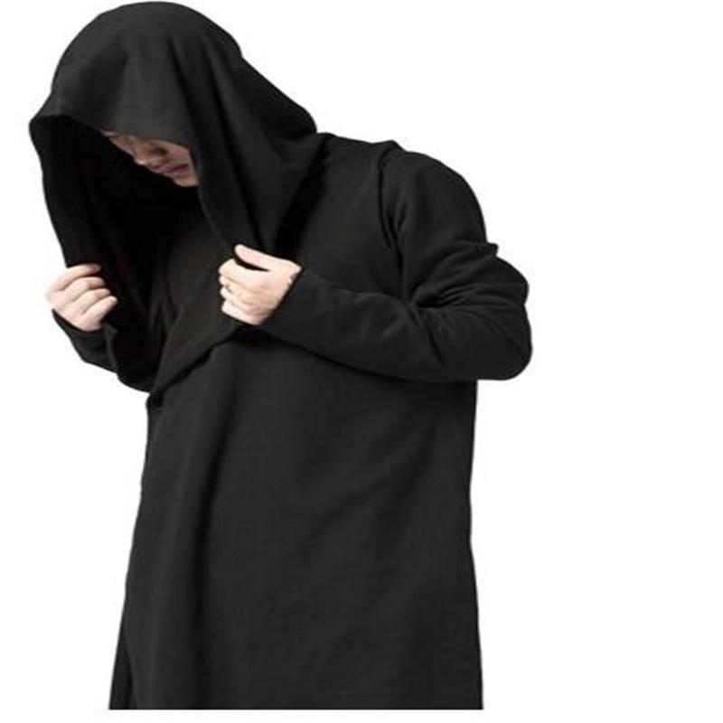 Hoodies Men Black Overcoat Mantle Hoodie Gothic Outwear Us Streetwear Men Plus Size Long Sweatshirt Cloak Hoodies Coat Women's Clothing