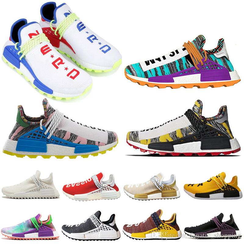 Afro Solar Pack HUMAN RACE Running Shoes Creme Nerd Pharrell Williams zapato Hu PW Equality Cream noble ink Mens Women Sports Sneakers