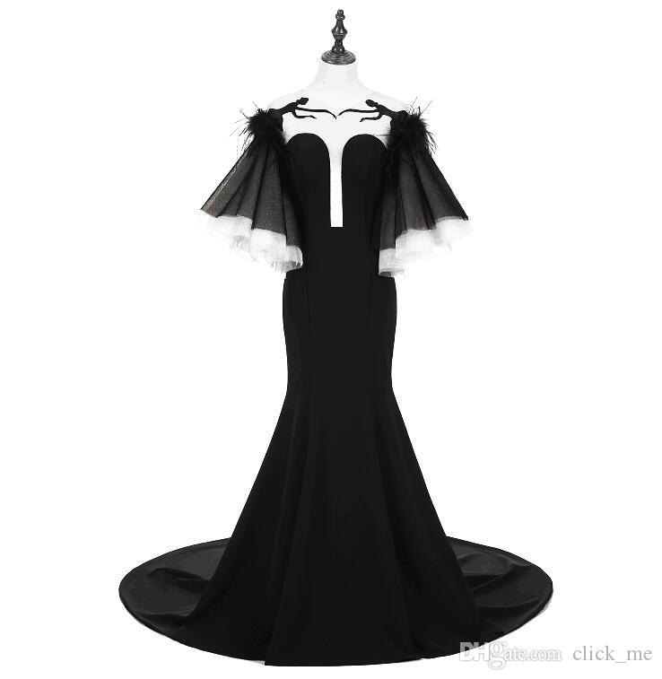 Sexy Black Prom Dresses Poet Sleeves Sheer Neck Plunging Mermaid Evening Dress Long Open Back Real Images Cocktail Party Gowns Vestidos