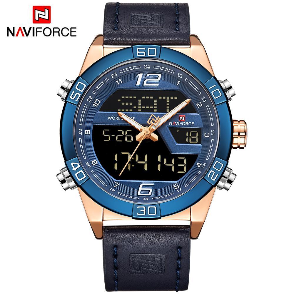 Herrenuhren Digitale Uhren Naviforce Männer Uhr Digital Sport Herren Uhren Top Luxus Military Armee Leder Band Analog Led Quarz Männlichen Uhr Neue 9128