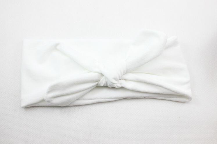 Neonato Fiocco di cotone Fascia di colore solido capelli Moda Carino Bambini Orecchie di coniglio Fascia elastica Fascia capelli Fascia capelli Accessori