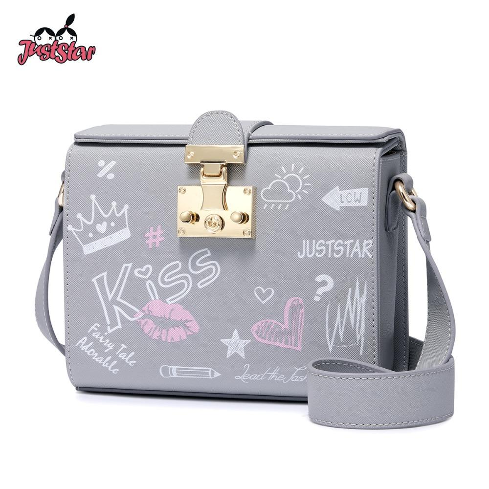 e57d400e77a JUST STAR Women s Leather Messenger Bags Ladies Fashion Lock Shoulder Purse  Female Hand Drawing Art Box Small Crossbody Bags