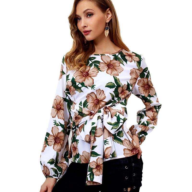 Blouses & Shirts 2018 Summer New Women Loose Slim V-neck Single-breasted Chiffon Long-sleeved Shirt Aesthetic Appearance