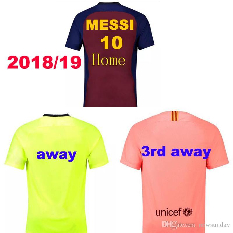 2018 19 MESSI 10 Jersey De Fútbol A.INIESTA Suárez DEMBELE COUTINHO Uniforme  De Fútbol 2018 2019 Thai Quality Barcelona Soccer Camisetas Customzied Por  ... 10cc1f1260e9b