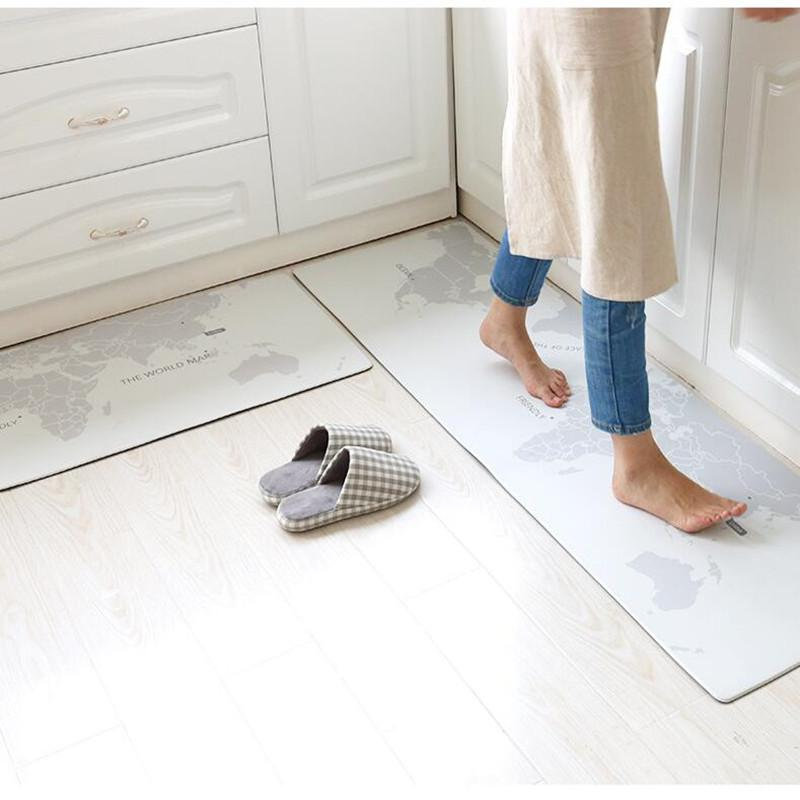 45X75CM 45X150CM/Set Long Kitchen Floor Mat Waterproof/Oil Proof/Anti-skid  Carpet Home Anti-fouling PVC Leather Material Mats