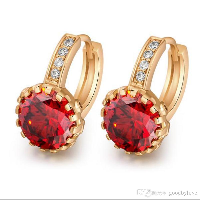 18K Gold Plated Crystals Cluster Shining Round Cubic Zircon CZ Hoop Huggie Earrings Fashion Party Jewelry for Women Girls