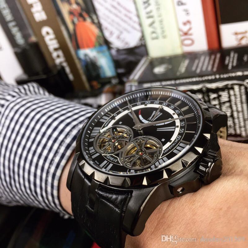 Reloj militar 2018 de calidad superior del hombre Reloj de pulsera casual de lujo del acero inoxidable Marca famosa Reloj doble del volante masculino Deportes de la manera Nuevo watc