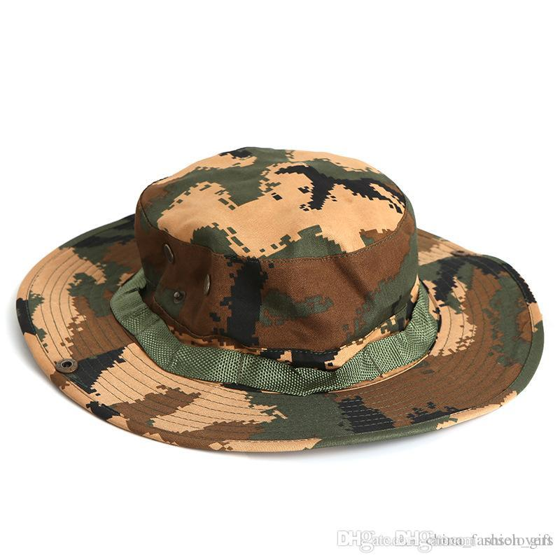 91aa7a71481c5 Summer Men S Sunscreen Hats Outdoor Fishing Hat Camouflage Wide Brim Hats  For Men Outdoor Sun Hats Sunhat Eric Javits From Roselovers