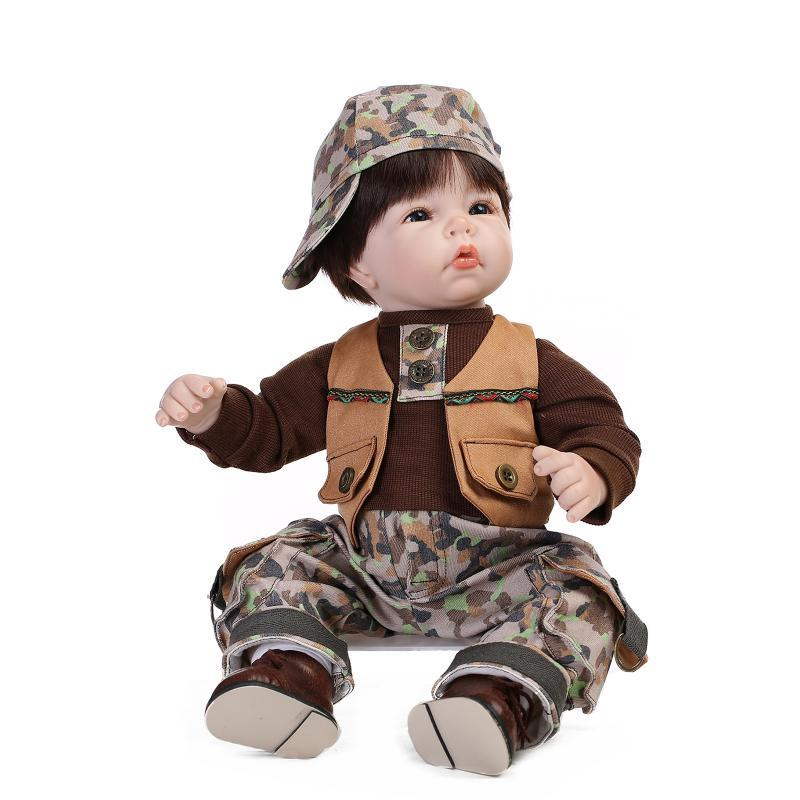 Wholesale- Reborn Baby Doll Soft Silicone 21inch 52cm Magnetic Mouth Lovely Lifelike Cute Boy Girl Toy Camouflage Clothing
