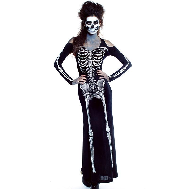 91069dd4d1474 Umorden Purim Carnival Halloween Skeleton Costume Women Scary Skeleton  Costumes for Adult Ghost Cosplay Long Dress Off Shoulder