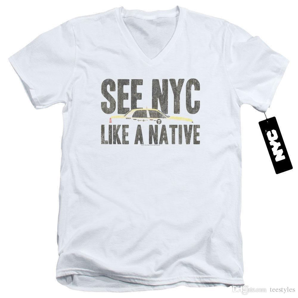 01fec82a5f Compre Nyc Slim Fit Decote Em V T Shirt New York City Como Um Táxi Nativo  Branco Tee Camisa Dos Homens Do Homem Criativo Branco Manga Curta XXXL  Custom Men ...