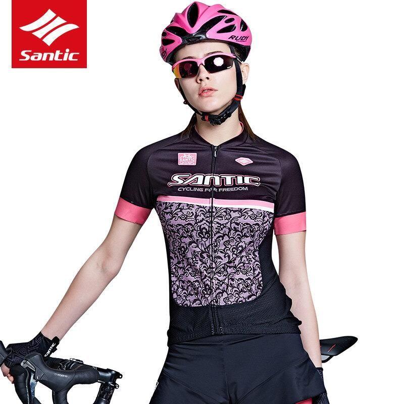 Santic Women Cycling Jersey Short Sleeve Pro Fit Functional Pocking Mark  Ultra Shine Fabric Summer MTB Bike Clothing Top L7C0210 Long T Shirts T  Shirts For ... 1e8fb8b80