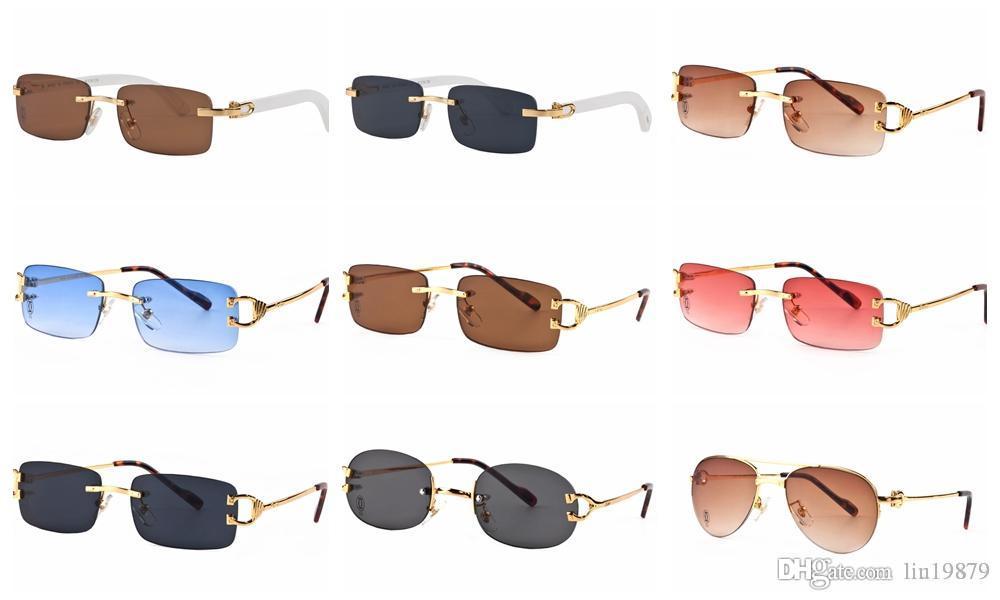 1f52f3d8928a6 Compre Mais Recente Moda Feminina Homens Óculos De Sol Da Marca Óculos De  Designer De Metal Pernas De Metal Sem Aro Óculos De Armação Oculos De Sol  De ...