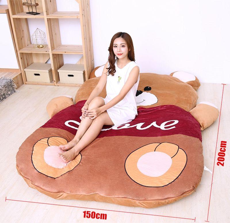 Dorimytrader Kawaii Soft LOVE Bear Sleeping Bag Plush Cartoon Bears Beanbag Sleeping Bed Sofa Great Gift DY50234