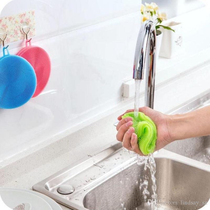 es Multi-función de Silicona Olla Plato Lavado Cepillo de Limpieza Antibacterial Almohadilla de fregar Cocina Scrubber Fruta Vegetal Limpio rápido