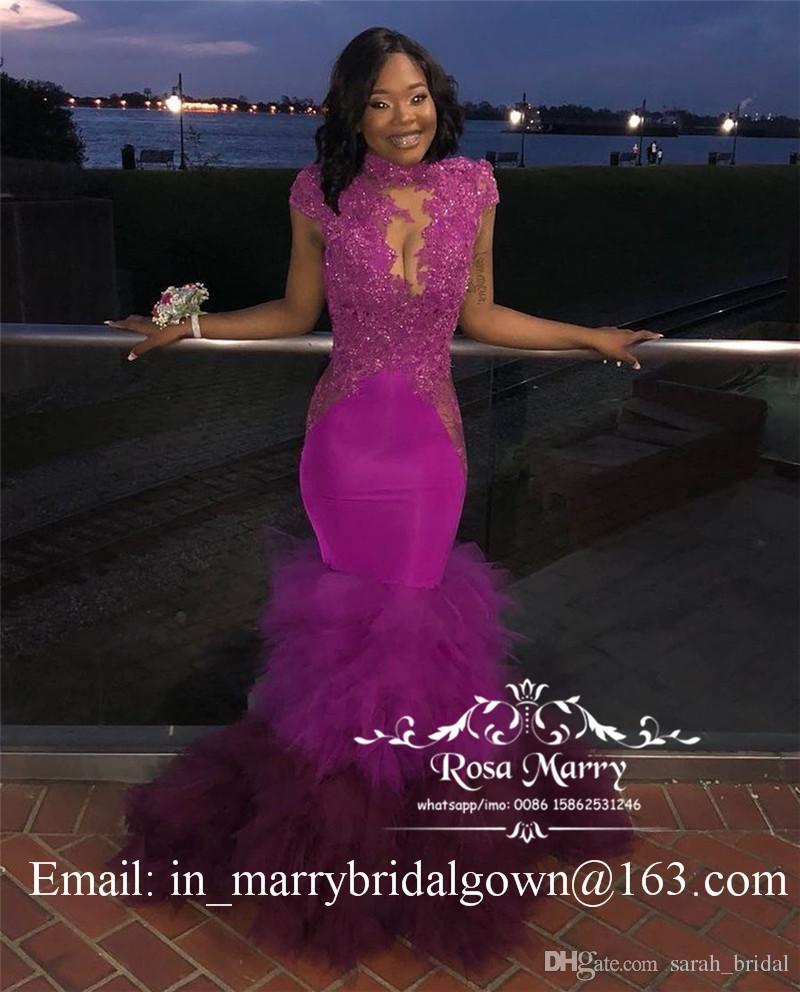 Seksi Backless Mermaid Afrika 2K19 Gelinlik Modelleri Artı Boyutu Pullu Boncuklu Vintage Dantel Katmanlı Tül 2020 Siyah Kızlar Arapça Pageant Parti kıyafeti