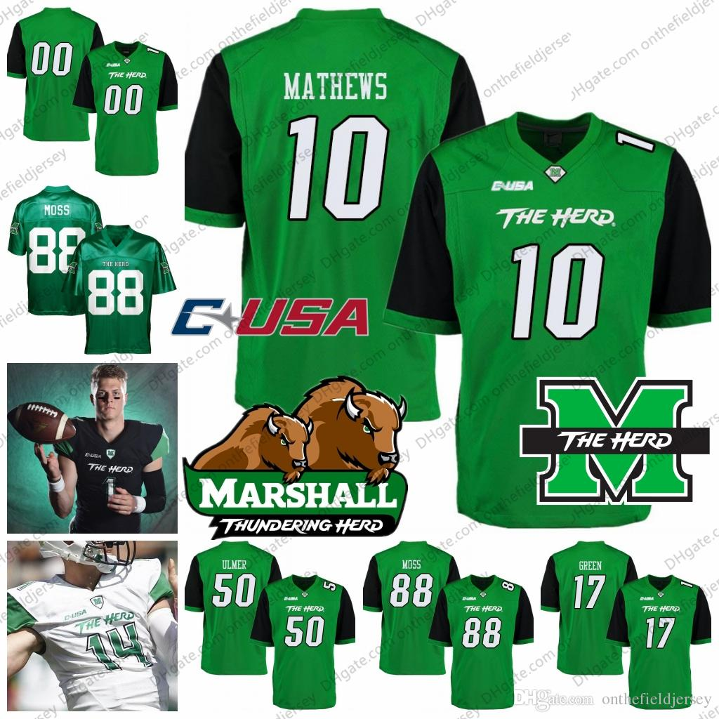 reputable site 68ee5 1a10c Marshall Thundering Herd College Football Jersey 10 Nick Mathews 50 Will  Ulmer 88 Randy Moss green white black size S-4XL
