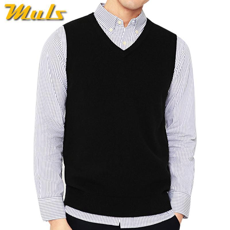 hot sale online 44fdd 11854 X 4 Colori Uomo maglione senza maniche maglia primavera autunno 100% cotone  maglia maglione lavorato di base maschile classico scollo av top 2018 ...