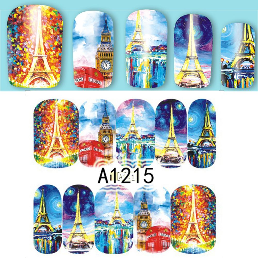 Design sticker 12 designs sticker italy styles retro towel building for full cover wraps nail charm decorations water tips a1213 1224 nail patch nail