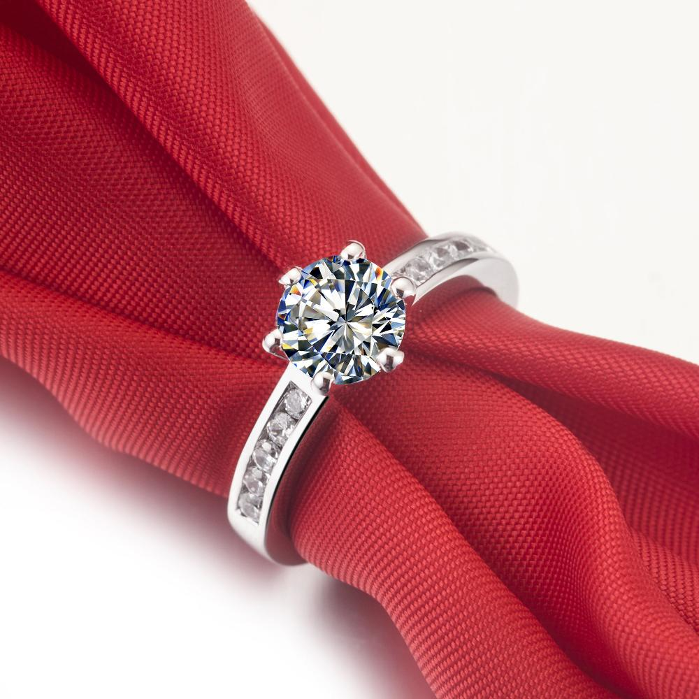 Drop Shipping 0.6 ct wedding band solid silver white gold plated rings SONA synthetic diamond rings for bride no fade