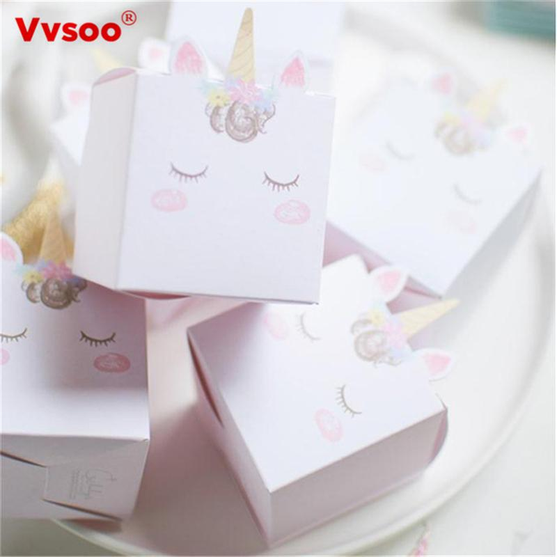 unicorn gift box white pink paper candy box wedding favors and gifts bag unicorn supplies birthday party decorations kids 10m christmas wrapping paper 1st
