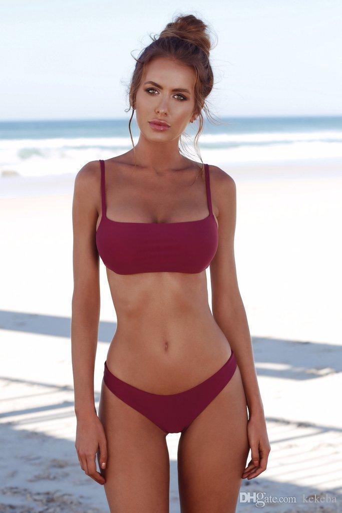 Color Superior Al Alta Traje Baño Borde Dos Colores Piezas 6 Mujer Sólido Bikini Por De 4 Cintura Tubo Mayor Juego Cruzado dxWCerBo