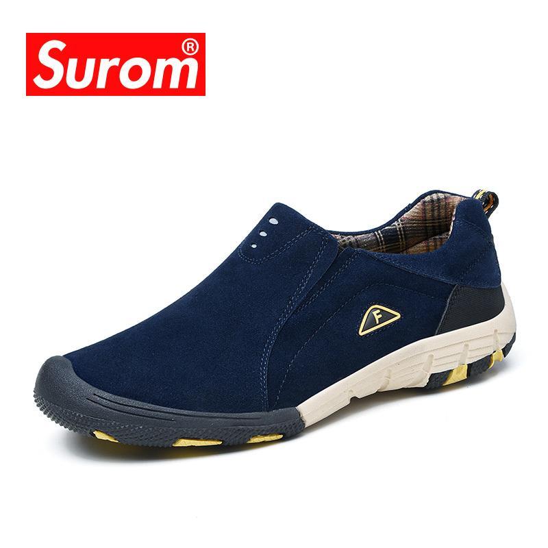 0014fcabf0359 Compre Surom Marca De Cuero Real Para Hombre Zapatos Casuales 2018 ...
