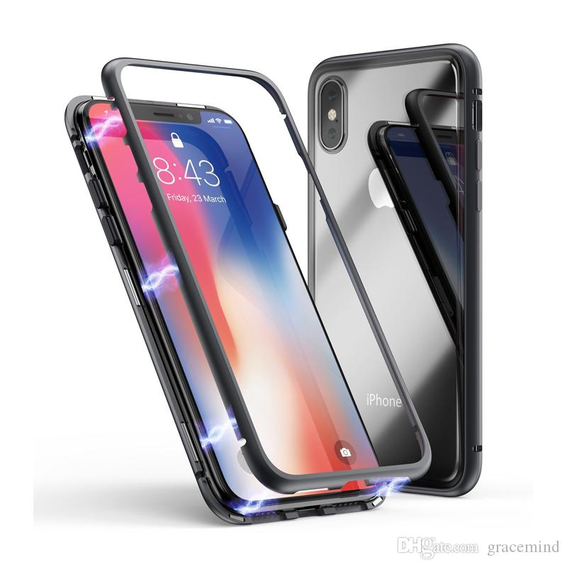 low priced dd895 8c0ba Magnetic Adsorption Case for IPhone X Clear Tempered Glass Back Full Body  Slim Fit Ultra-Thin Case Lightweight Transparent Magnet Case
