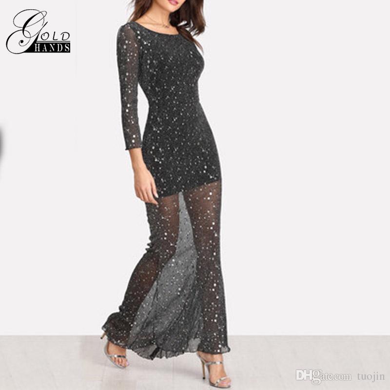 3791cfc625c Women Party Black Scoop Neck Backless Dress Long Sleeve Maxi Dress Women  Lettuce Edge Open Back Sparkle Mesh Dresses Vestido Girls Dress Bridal Dress  From ...