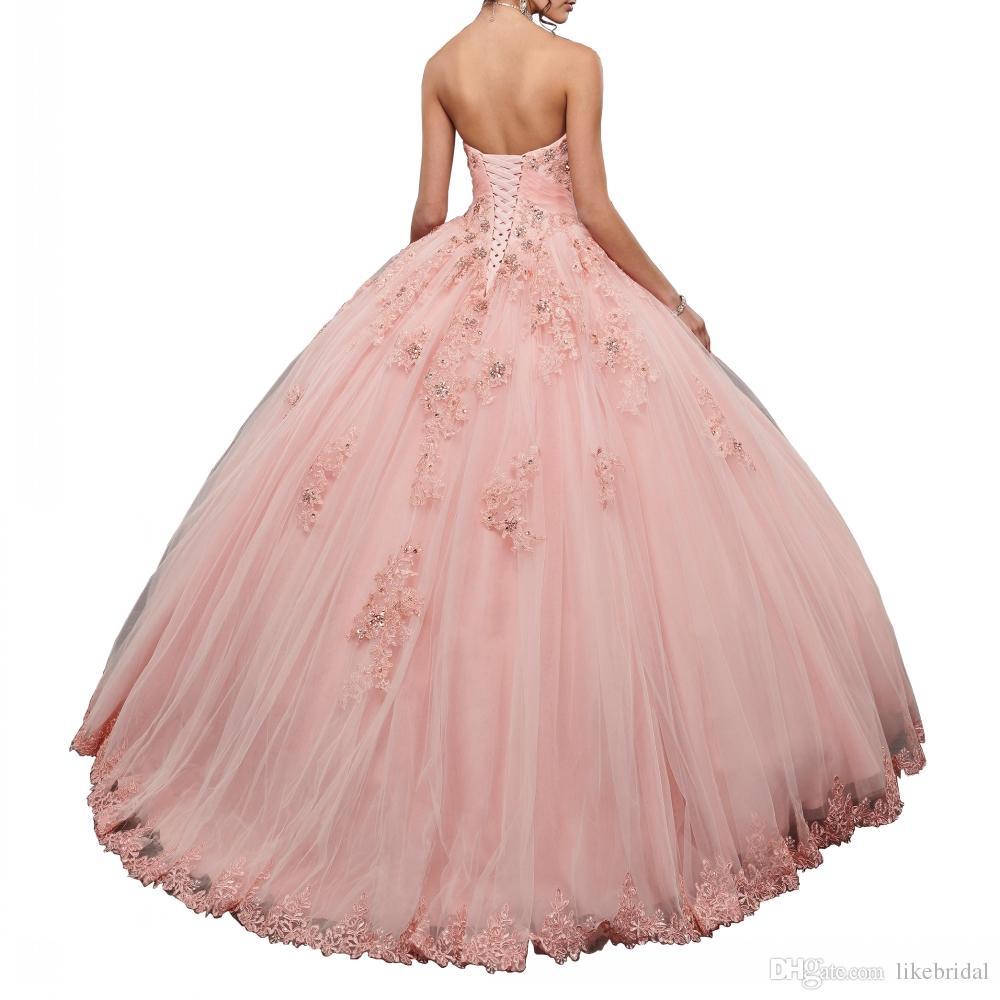 2019 el último vestido rosado de quinceañera cristales de encaje cariño rebordear tul 16 años niña fiesta Vestidos vestido de bola corsé espalda