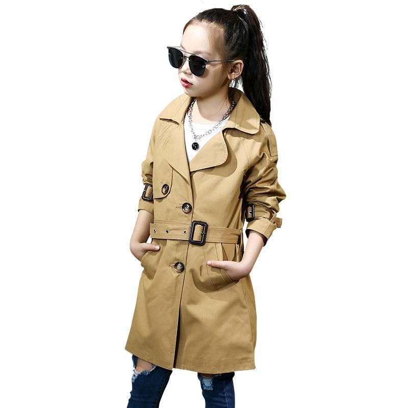 fbd7eb205 New Fashion Girls Trench Coats Single Breasted Jackets for Girls ...