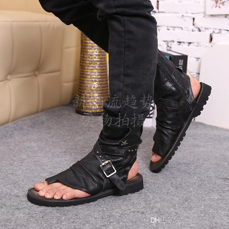 Summer Gladiator Sandals For Men Black White Ankle Leather Men Flats Italian Shoes Sandals Rivets Mens Slippers Motorcycle Boots Size 46