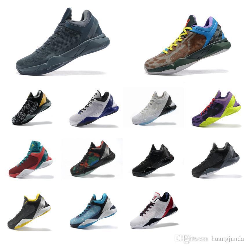2018 Cheap Men What The Kobe 7 VI Low Cut Basketball Shoes FTB Grey ...