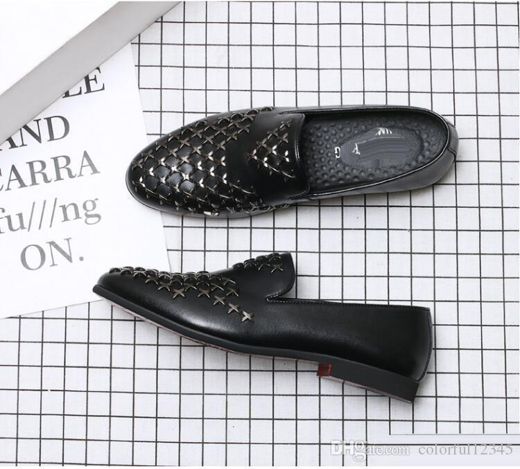 2018 NEW style Man Fashion Galaxy Dance Shoes Men's Genuine Leather Rivets Wedding Party Flats Mens Casual Dress Business Shoe