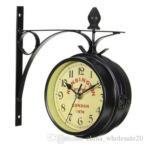 Charminer Vintage Decorative Double Sided Metal Wall Clock Antique Style  Station Wall Clock Wall Hanging Clock Black Nautical Wall Clock Nautical  Wall ...