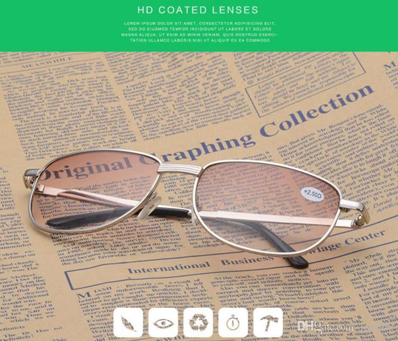 2a6efed766f Men Gold Metal Frame Bifocal Smoke Lens Reading Glasses Classic ...