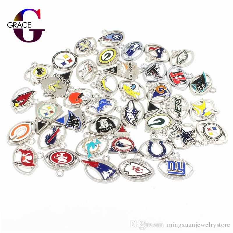 Mixs 32 Football Teams Sport Dangle Charms Enamel Floating Charms For DIY Sports Women Necklace Bracelet Jewelry