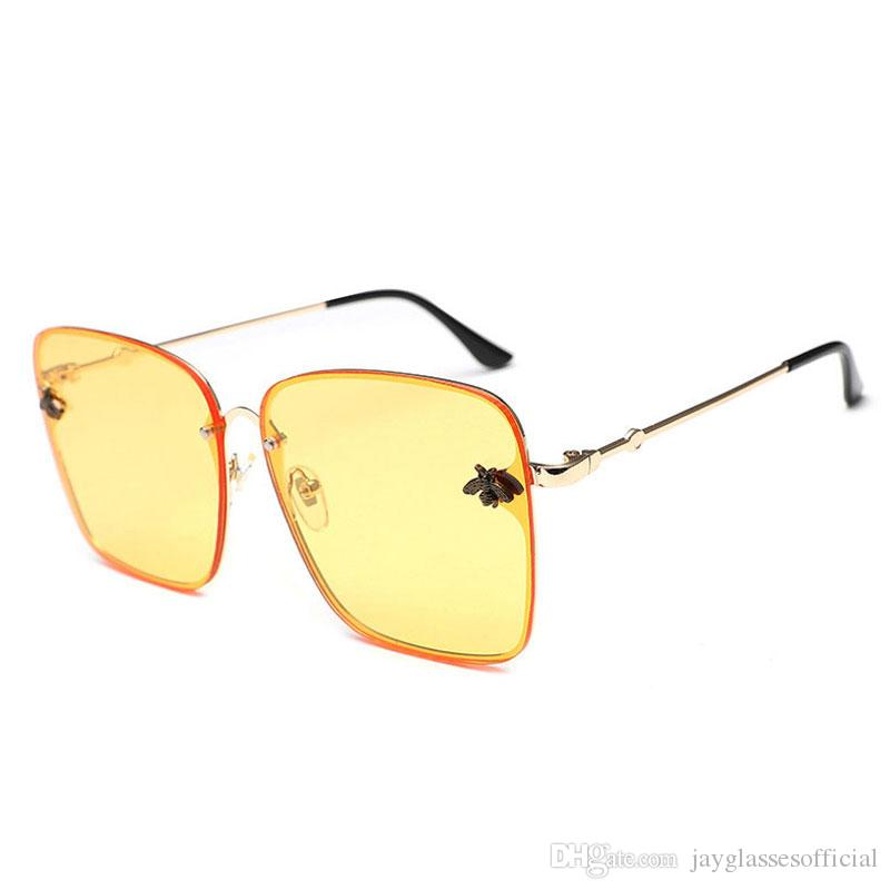 3e707bf26b 2018 New Arrival Rimless Sunglasses Women Fashion Square Vintage Brand  Designer Rimless Eyeglasses Female For Travel UV400 Sunglasses Online  Sunglasses ...